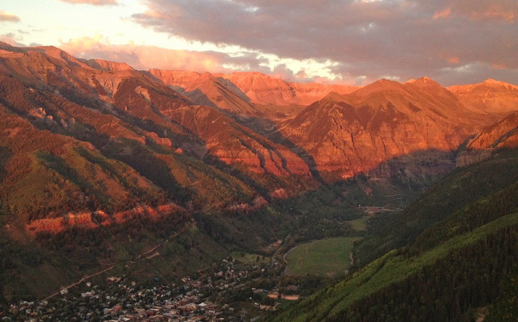 Telluride Colorado sunset view from the gondola.