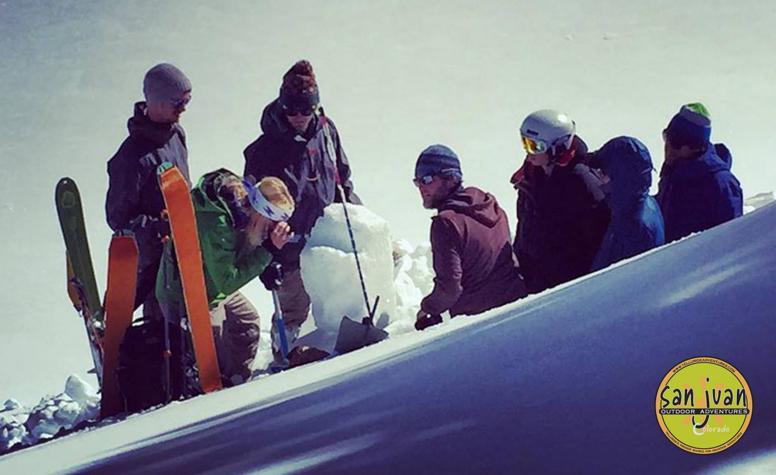 Avalanche Training Students study snow crystals in a snow pit in Telluride Colorado