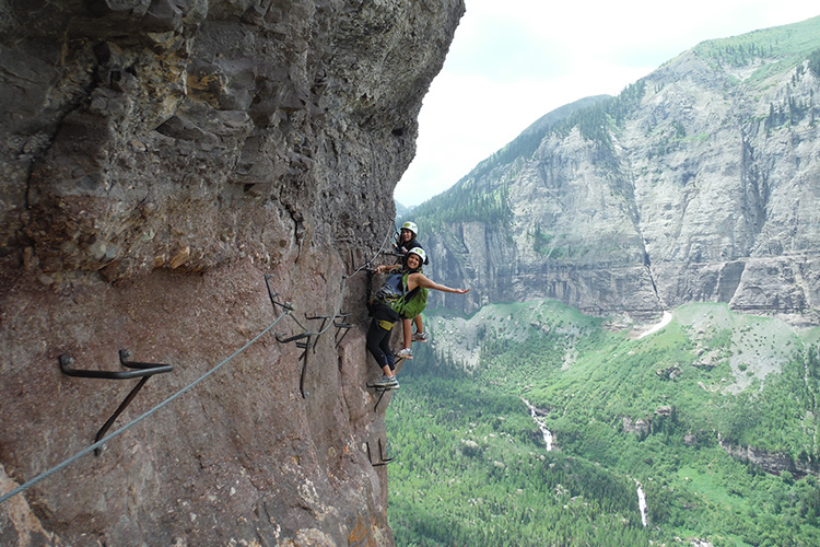 Women on Via Ferrata in Telluride Colorado